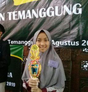 Fahma Mujahida Juara 2 Tilawah dan Tahfidz 1 juz. MTQ Pelajar Smp/Mts Kab. Temanggung